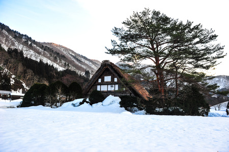 shrinkage: Ancient wooden house Shirakawa go village in winter season
