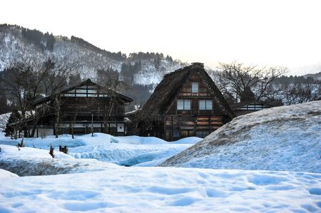 shrinkage: Ancient wooden house in winter season