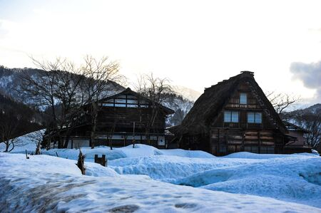 shirakawa go: Silhouette of old house Shirakawa go village Editorial
