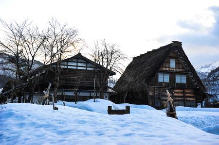 shrinkage: Silhouette of vintage house in Shirakawa Go village