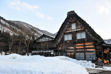 shrinkage: Ancient wooden house Shirakawago village in Japan Editorial