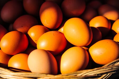 ingradient: Fresh eggs in the basket for sale