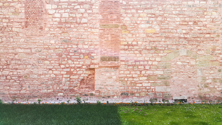 Old pink stone wall at the Hagia Sophia - Istanbul, Turkey