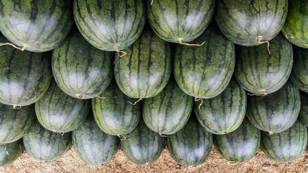 Overlapping of watermelons in the market Stock Photo