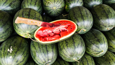 Knife embroidered on half watermelon