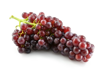 Red grape with water drops, closeup, isolated on white background photo