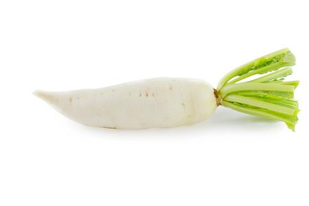 White radish on white background photo