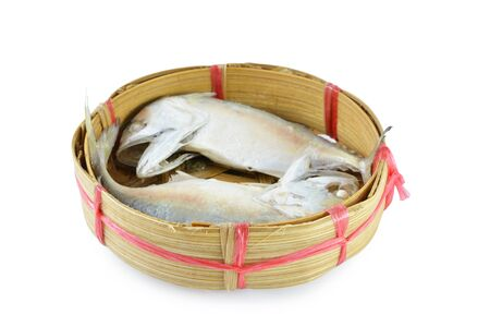 Mackerel fish in bamboo basket  with clipping path  photo
