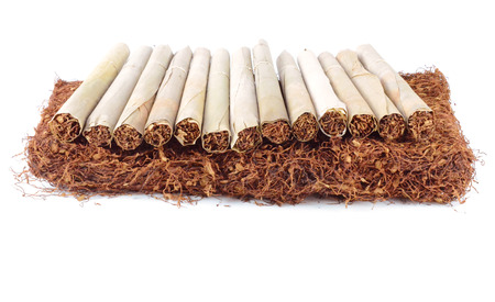 Tobacco leaves were dried, cut into small strips called line tobacco. photo