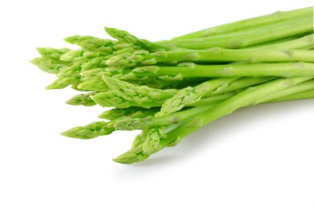 Asparagus sprouts isolated on white background photo