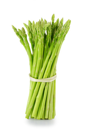 Sheaf of asparagus on a white background. photo