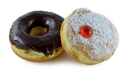 Two doughnuts on a white  photo