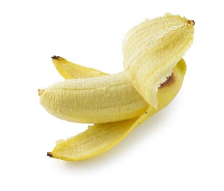 banana peel: peeled banana standing straight, isolated on white with shadow