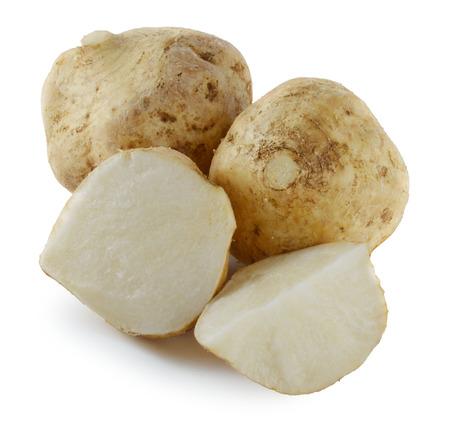 Jicamas on white Reklamní fotografie