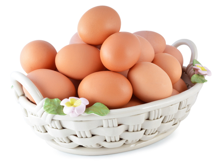 basket full of brown eggs photo