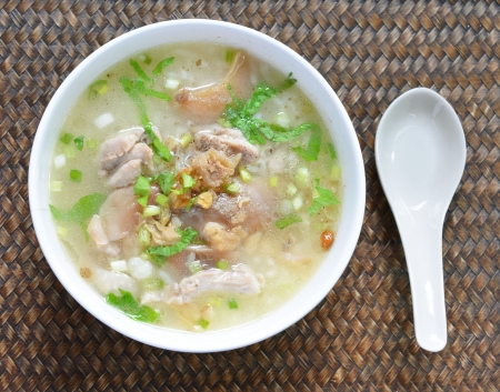 Boiled rice pork in a bowl