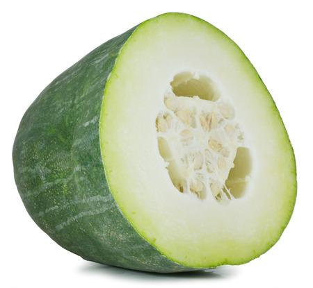 Winter meloen op een witte achtergrond Stockfoto