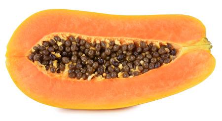 cranny: papaya in white  Stock Photo
