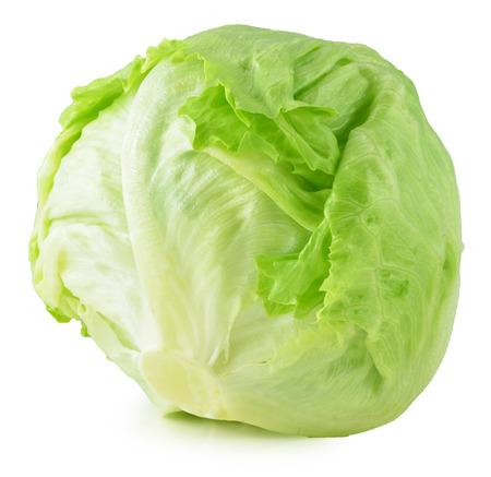 alface: Iceberg verde alface no fundo branco Banco de Imagens