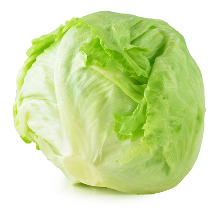 Laitue Iceberg vert sur fond blanc