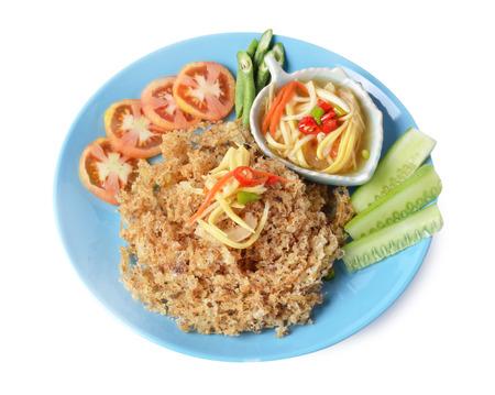 mingle: Crispy catfish salad with green mango,thai food