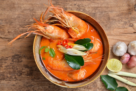 Tom Yum Kung and condiments (Thai cuisine). photo