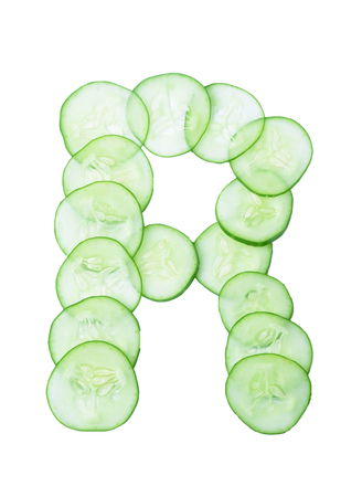 r sliced: Letters and numbers alphabet of  cucumbers
