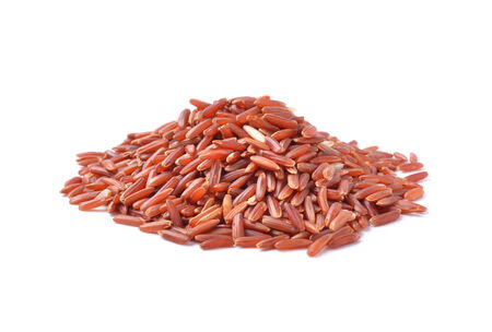 red rice on white background photo
