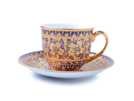 porcelain tea cup on white background photo