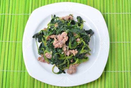 Stir spinach photo