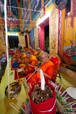 chant: LAMPANG, THAILAND - DECEMBER : Lampang monks chant for ceremony in Lampangkang Temple Pagoda celebration ceremony for king on Dec 10, 2013 at Lampangkang Temple, Thailand