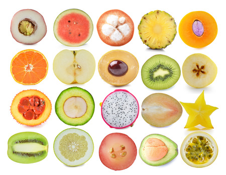 Slice of fruits  isolated on white photo