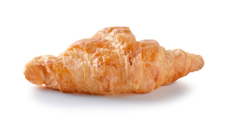 buttery: Fresh and tasty croissant over white background