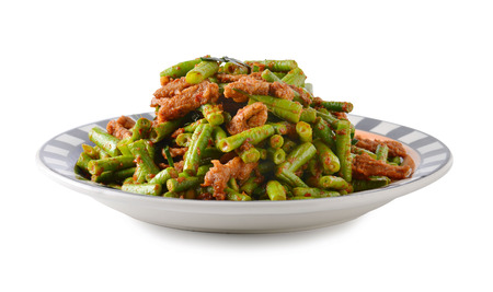 long bean: Stir-fries long bean Stock Photo