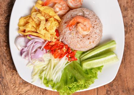 serves: Thai shrimp fried rice serves on the dish