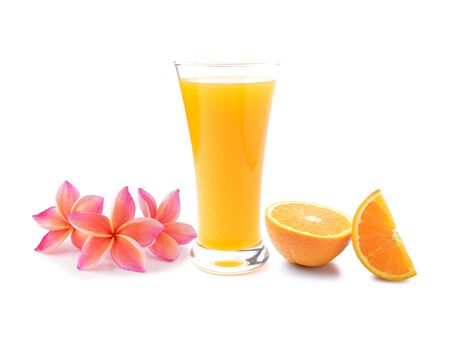 plumeria flower: colorful plumeria flower and Orange juice isolated on white