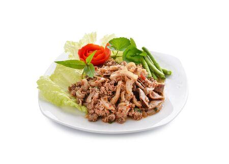 spicy minced pork salad, minced pork mash with spicy, Thai food photo