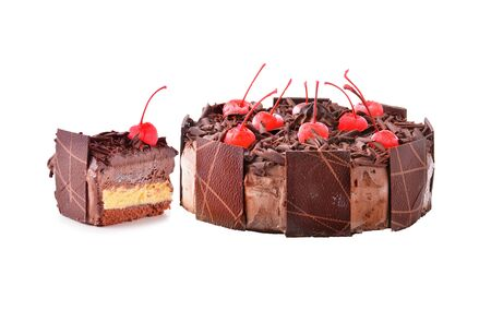 piped: Chocolate cake isolated on white background