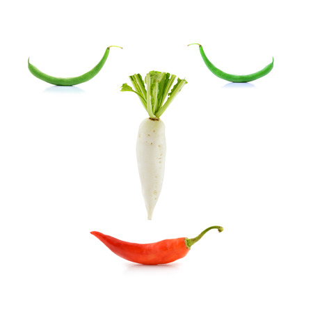white radish, peppers,bean,on white background photo