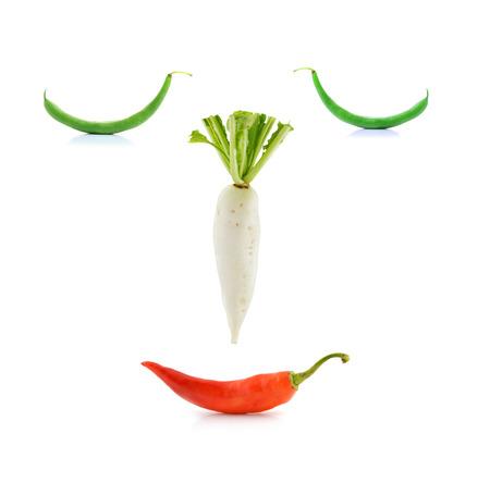 white radish, peppers,bean,on white background photo