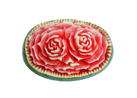 Watermelon Thai fruit carving isolated on white photo