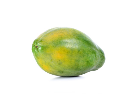grope: green papaya in white background