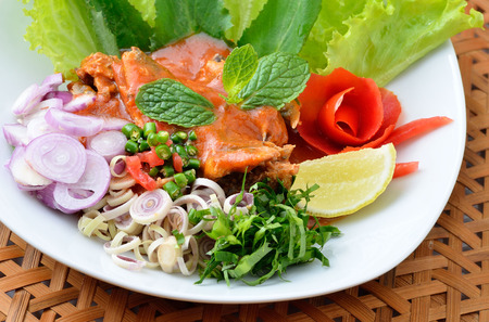 gasp: Spicy Sardines in tomato sauce canned fish ,Yum thai food style Stock Photo