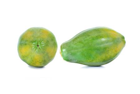 cutaneous: green papaya in white background