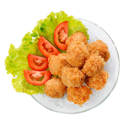 Fried shrimp ball on white background.