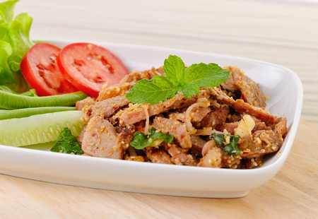 thai chili pepper: Thai food, spicy pork with chili and mint Stock Photo