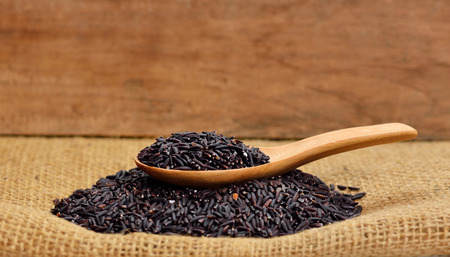 black rice: Thai black jasmine rice (Rice berry) Stock Photo