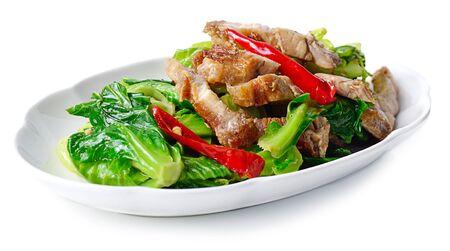 crispy: Thai food fried kale with crispy pork
