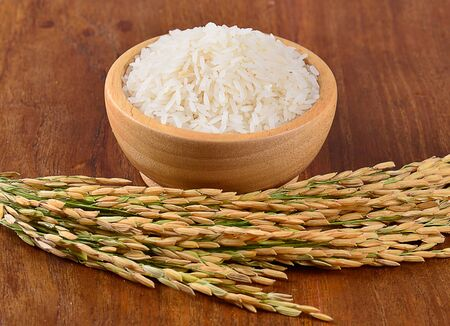 uncooked: white rice on the wooden plate and rice plant , uncooked raw cereals