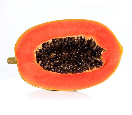 slice papaya isolated on a white background